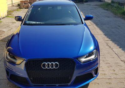 Audi RS4 – Mycie detailingowe + Jednoetapowa korekta lakieru + Wosk Soft99 + dokładne czyszczenie wnętrza